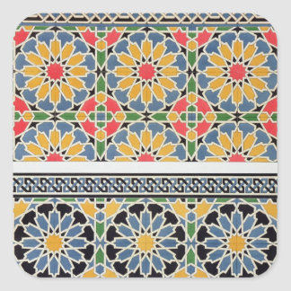 Emparede las tejas del mihrab de la mezquita de pegatina cuadrada
