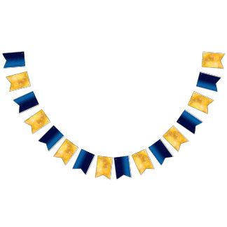 Empavesado festivo brillante del fiesta del azul y banderines