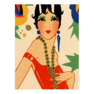 Empeine del art déco, aleta de los años 20 postal