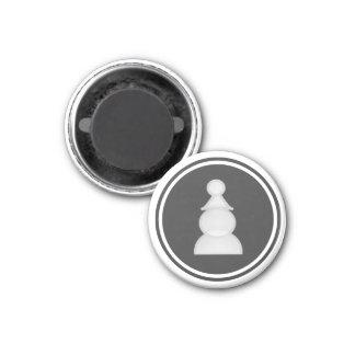 Empeño del blanco del pedazo de ajedrez imán redondo 3 cm