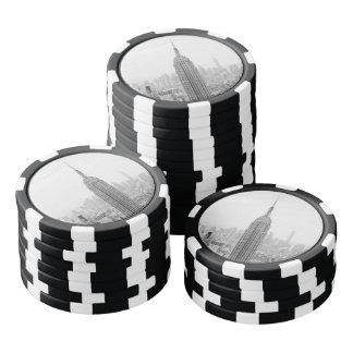 Empire State Building blanco y negro Manhattan Fichas De Póquer