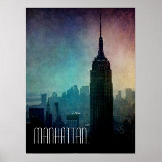Empire State Building en la oscuridad Poster