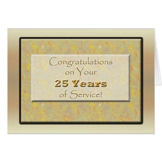 Empleado 25 años de servicio o de aniversario tarjeta de felicitación