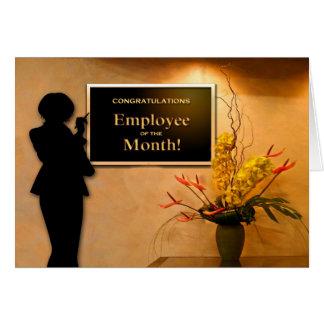 Empleado de la enhorabuena del mes tarjeta de felicitación