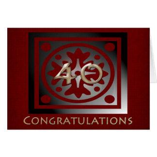 Empleado rojo elegante del aniversario de 40 años tarjeta de felicitación