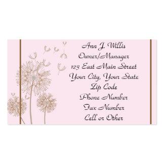 Empleos rosados del negocio del diente de león tarjetas de visita