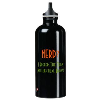 Empollón?. Botella de agua divertida intelectual