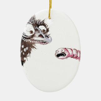 Emu y gusano adornos de navidad