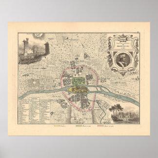 En 1180 de París de 1858 mapas - Francia Póster