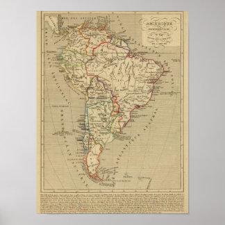 En 1840 de Amerique Meridionale Póster