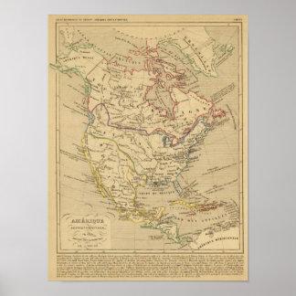En 1840 de Amerique Septentrionale Póster