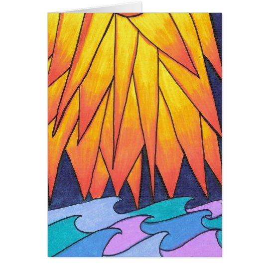 En blanco-Sun besó ondas Tarjeta De Felicitación