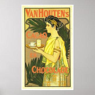 En Chocolade 1899 de Cacao de Van Houten Póster
