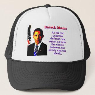 En cuanto a nuestra defensa común - Barack Obama Gorra De Camionero