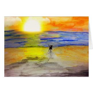 En de la puesta del sol tarjeta pequeña
