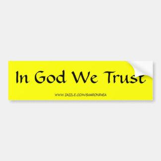 En dios confiamos en a la pegatina para el paracho pegatina para coche