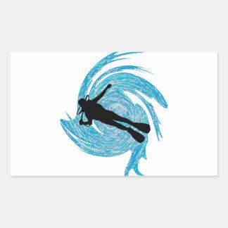 En el azul pegatina rectangular