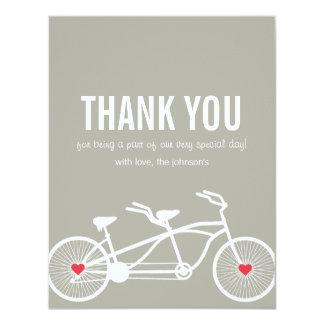 En el boda gris de la bicicleta del amor gracias invitación 10,8 x 13,9 cm