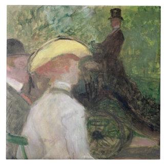 En el Bois de Boulogne, 1901 (aceite en lona) Azulejo Cuadrado Grande
