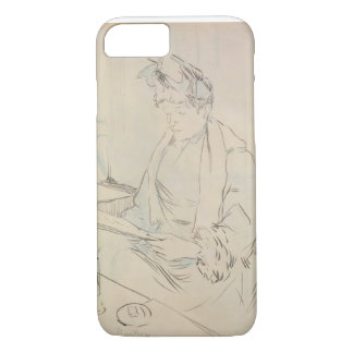 En el café (lápiz y tinta en el papel) funda iPhone 7