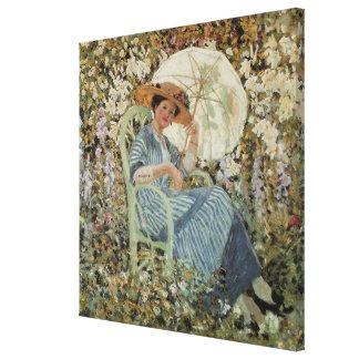 En el jardín, Giverny de Frederick Frieseke Impresión En Lienzo