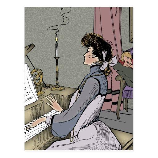 En el piano postales