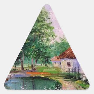 en el pueblo pegatina triangular