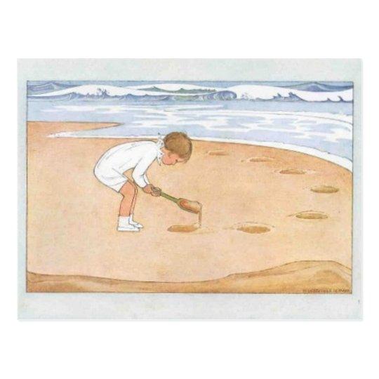 En el vintage de la playa postal