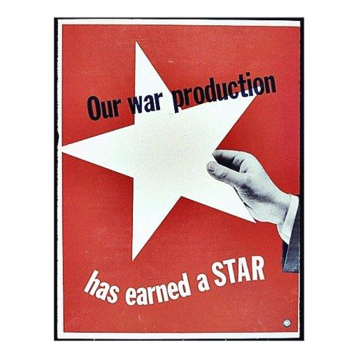 En guerra la producción ha ganado una estrella tarjeta publicitaria