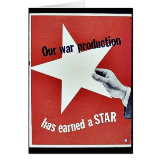 En guerra la producción ha ganado una estrella tarjeta de felicitación