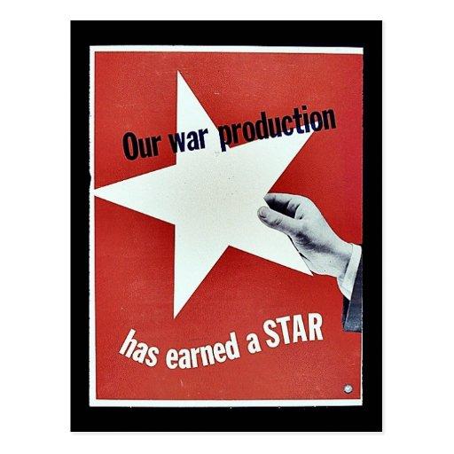 En guerra la producción ha ganado una estrella postal