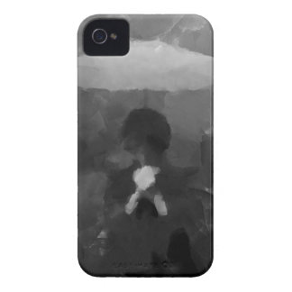 En la pintura oscura del arte de la lluvia funda para iPhone 4