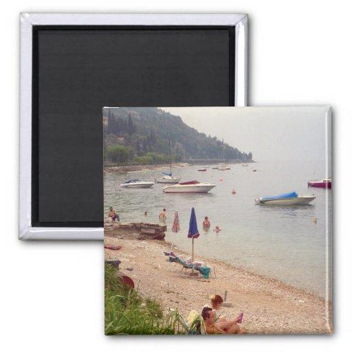 En la playa, Menaggio Imanes Para Frigoríficos