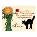 En la postal del vintage de Halloween