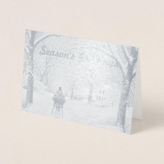 Tarjeta Con Relieve Metalizado En la tarjeta de felicitaciones de la estación de
