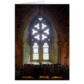 En la tarjeta en blanco de la capilla