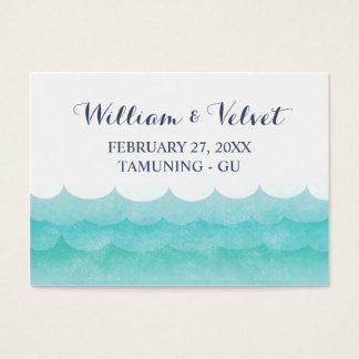 En las tarjetas náuticas del lugar del boda del