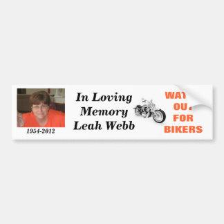 En memoria de Leah Webb Pegatina Para Coche