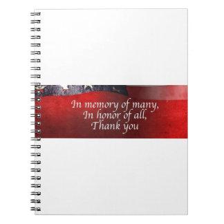 En memoria de muchos en honor de todos gracias cuaderno