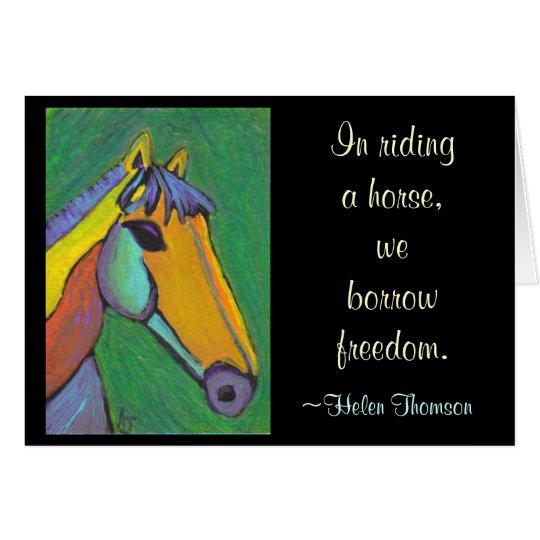 En montar un caballo, pedimos prestada la tarjeta de felicitación