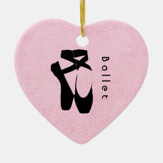 En negro Pointe de los zapatos de ballet Adorno De Cerámica En Forma De Corazón