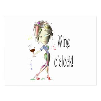 ¡En punto del vino! Vino chistoso que dice los Postal