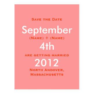 En septiembre de 2011, el 4tos, ahorran la fecha, postal
