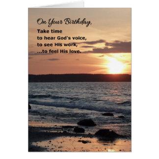 En su cumpleaños, tarde el tiempo… religioso tarjeta