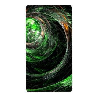 En todo el mundo fractal verde del arte abstracto etiquetas de envío