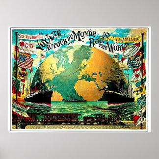 En todo el mundo viaje del vintage del viaje póster