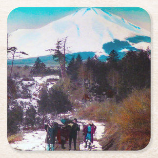 En un camino del invierno debajo del vintage Japón Posavasos Cuadrado De Papel