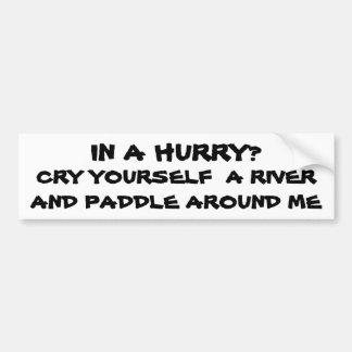 ¿En una prisa? Grito usted mismo un río Pegatina Para Coche