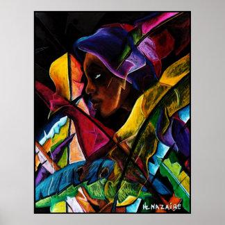 En Vitraux IV de Haitienne - pastel del del entoil Poster