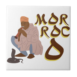 Encantador de serpiente de Marruecos Azulejo Cuadrado Pequeño